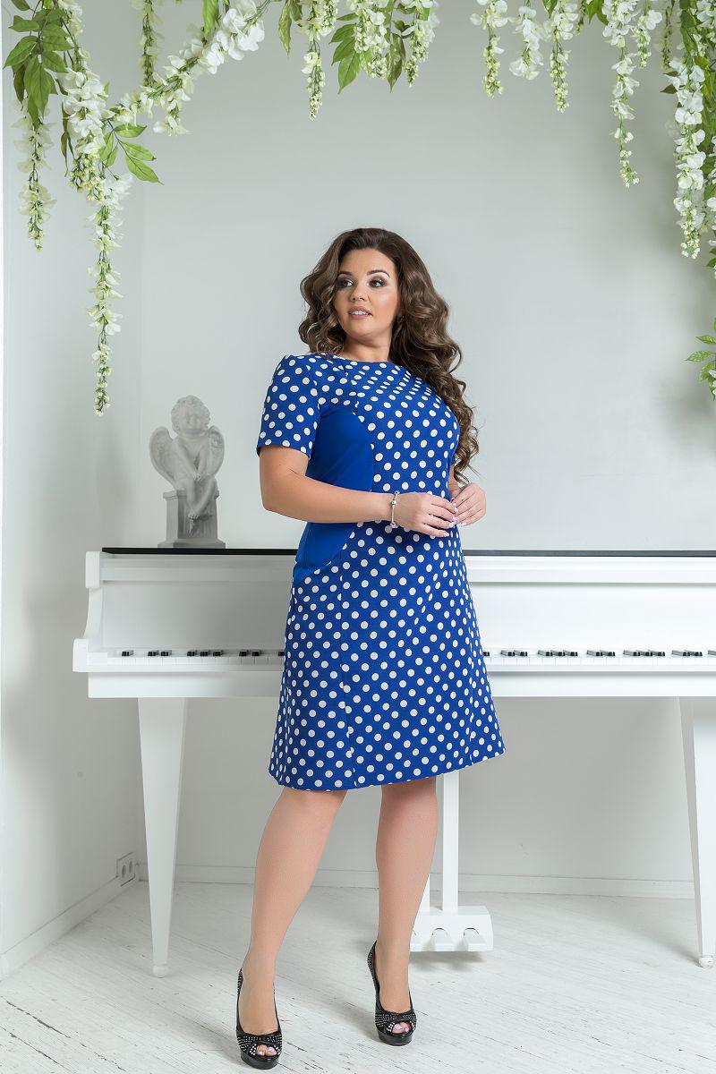 e4fa05ebee1 Синее летнее платье в горошек большого размера в 46-62 - Интернет - магазин