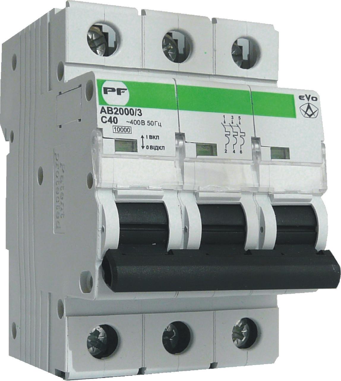 Модульний автоматичний вимикач Промфактор АВ2000 EVO 3Р, 1-125А, 10кА, С