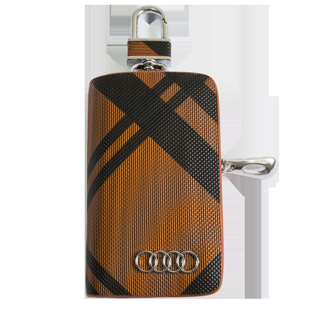 Ключница Carss с логотипом AUDI 01014 карбон коричневый