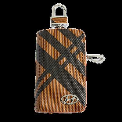 Ключница Carss с логотипом HYUNDAI 10014 карбон коричневый