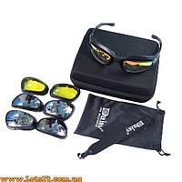 Daisy C5 - защитные очки для охоты, рыбалки, спорта (4 пары линз в комплекте, вело-очки)