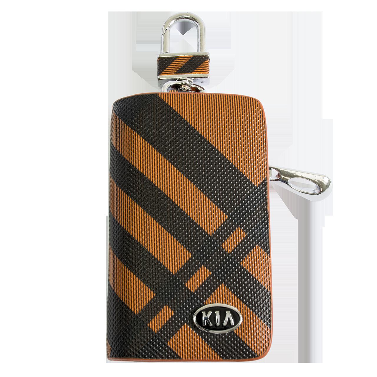 Ключница Carss с логотипом KIA 05014 карбон коричневый