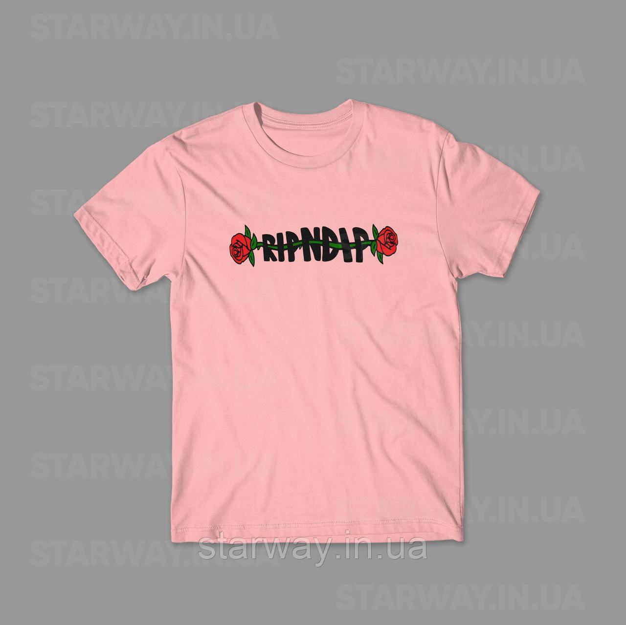 Футболка розовая RipNDip Rose logo