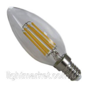 Лампа LED свеча (спираль) АВаТар прозрачная колба 7w Е14 желтый свет, фото 2