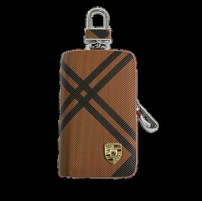 Ключница Carss с логотипом PORSCHE 06014 карбон коричневый