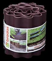 Бордюрная лента садовая волнистая 9м-10см-0,4мм, коричневая, OBFB 0910