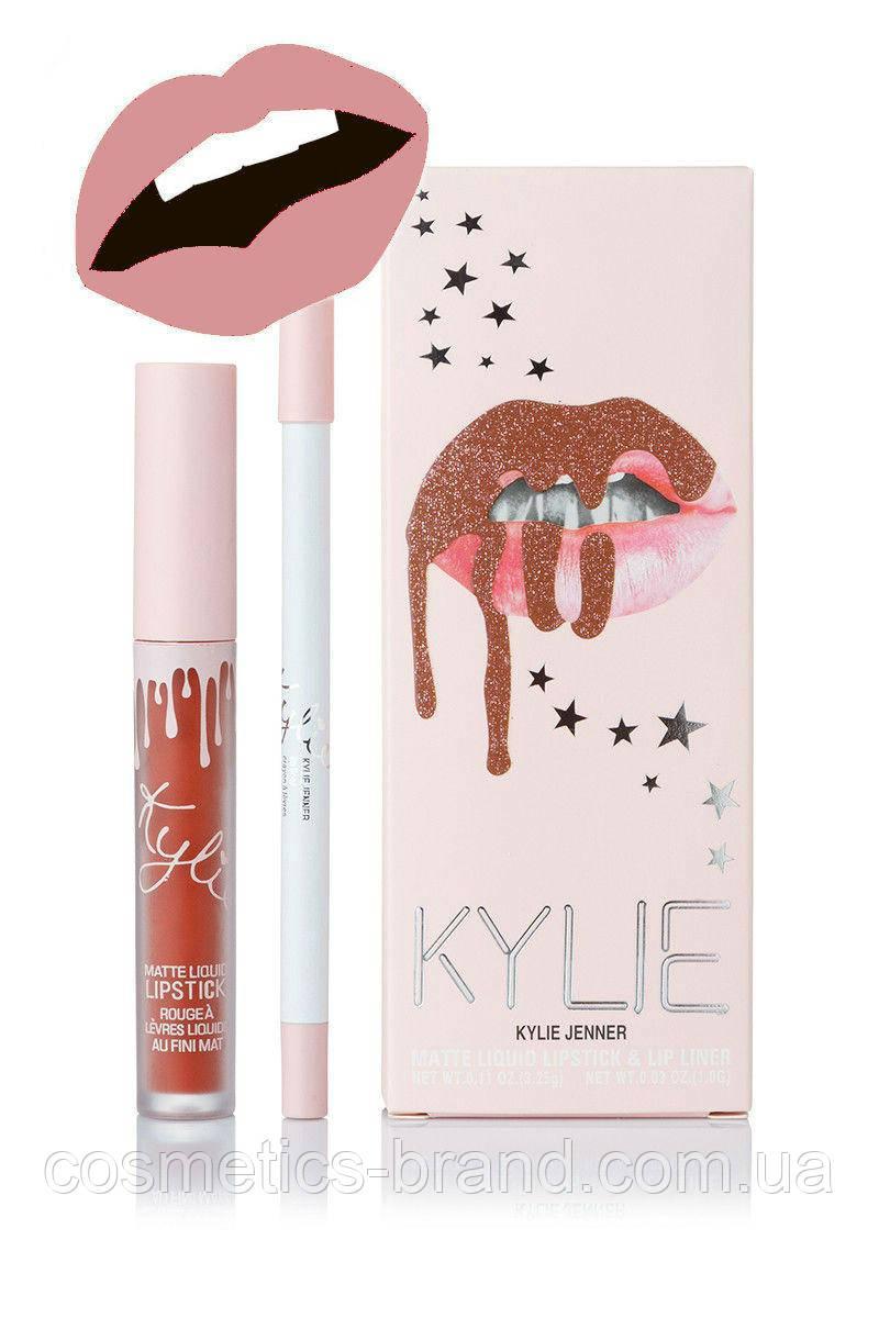 Матовая помада Kylie Lipstick & Lip Liner (набор помада и карандаш) Аngel (реплика)