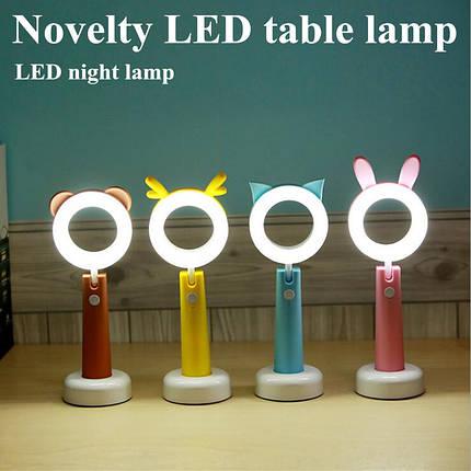 Светодиодная лампа с аккумулятором, лампа фонарь, LED pet lamp ( лампа с ушками ) светильник лед, фото 2