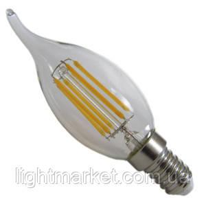 Лампа LED свеча на ветру АВаТар прозрачная колба 6w E14 белый свет, фото 2