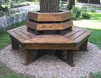 Скамья садовая, деревянная мебель для дачи Геометрия со спинкой