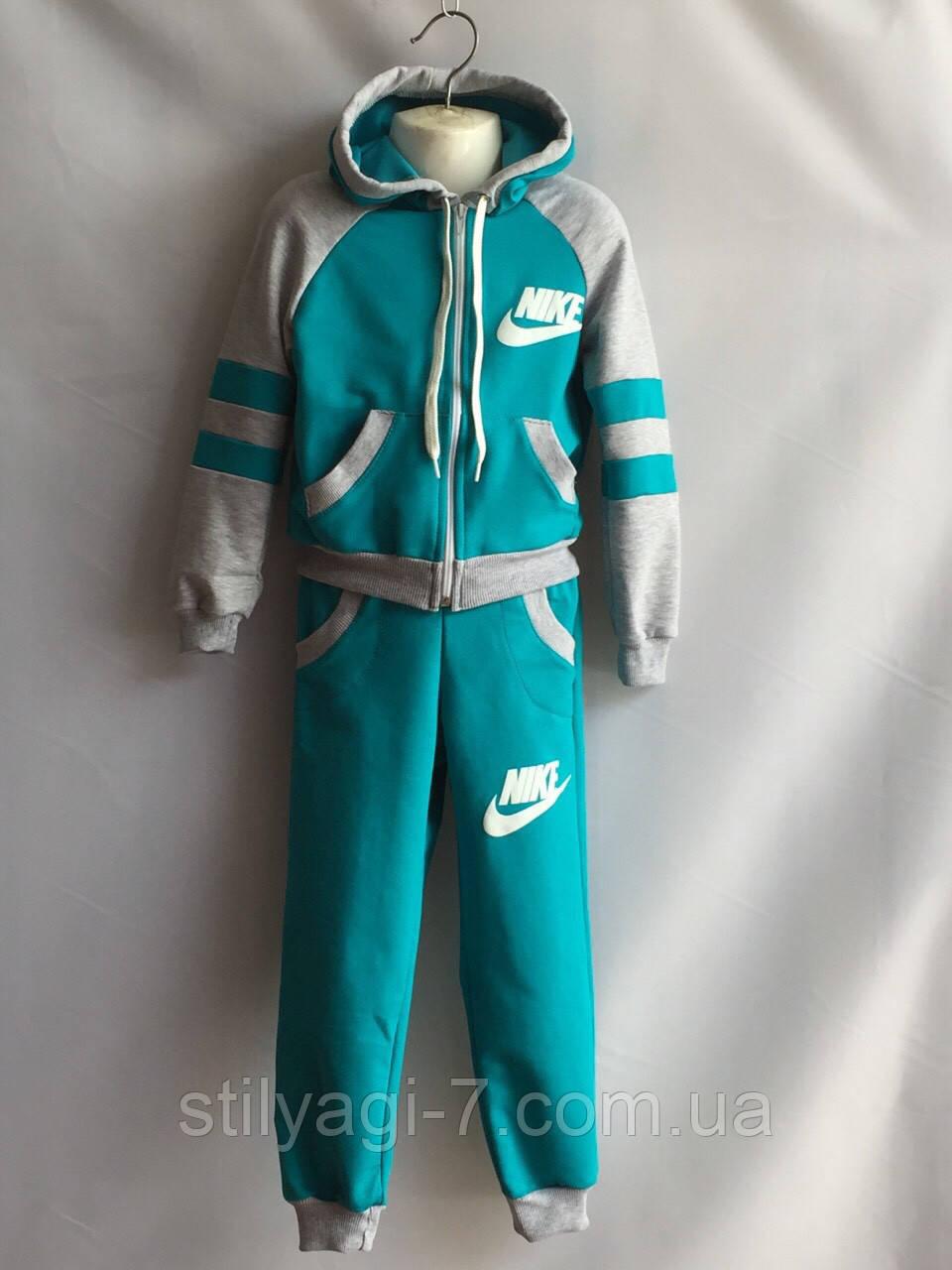 Спортивный костюм для девочки 4-7 лет бирюзового цвета Nike с капюшоном оптом