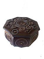 Шкатулка деревянная резьбленная с бисером (резная,рубленая)17*17*10, фото 1