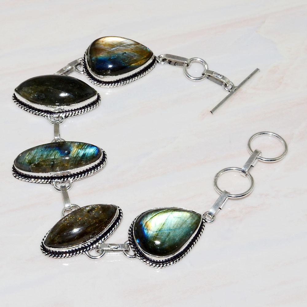 Красивый браслет с камнем лабрадор в серебре. Браслет с лабрадором.