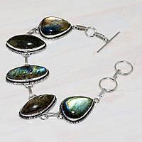 Красивый браслет с камнем лабрадор в серебре. Браслет с лабрадором., фото 1