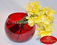 Ваза красная стеклянная круглая ваза 120х150 мм цвет красный рубиновый, фото 1