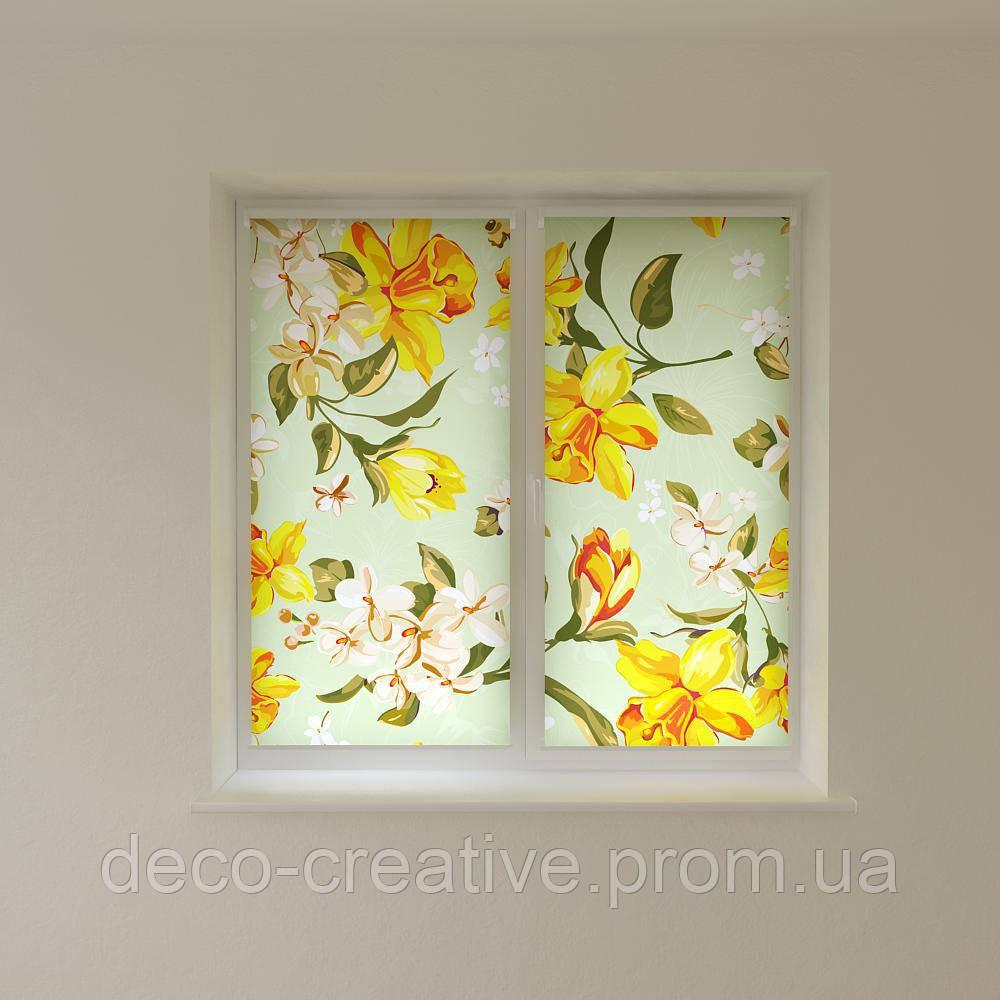 Рулонные фото шторы векторные цветы