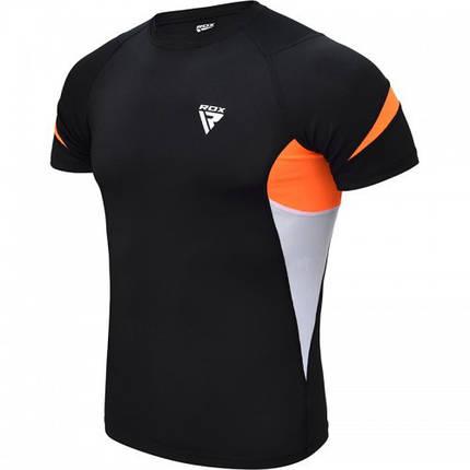 Рашгард с коротким рукавом RDX Lycra Orange XL, фото 2