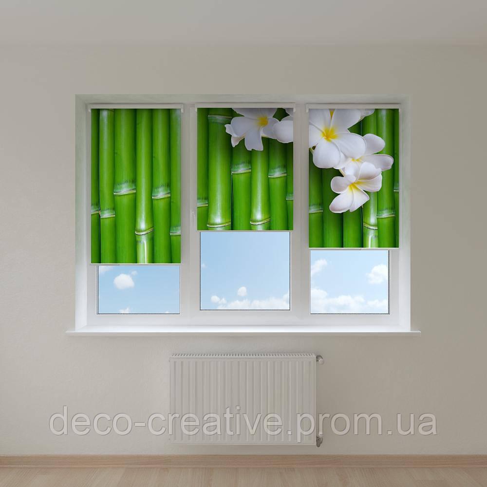 Рулонные фото шторы магнолия на бамбуке