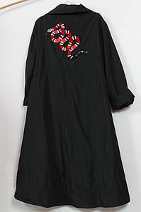 Оригинальный женский плащ с вышивкой Darkwin (Турция) 54-64р черный