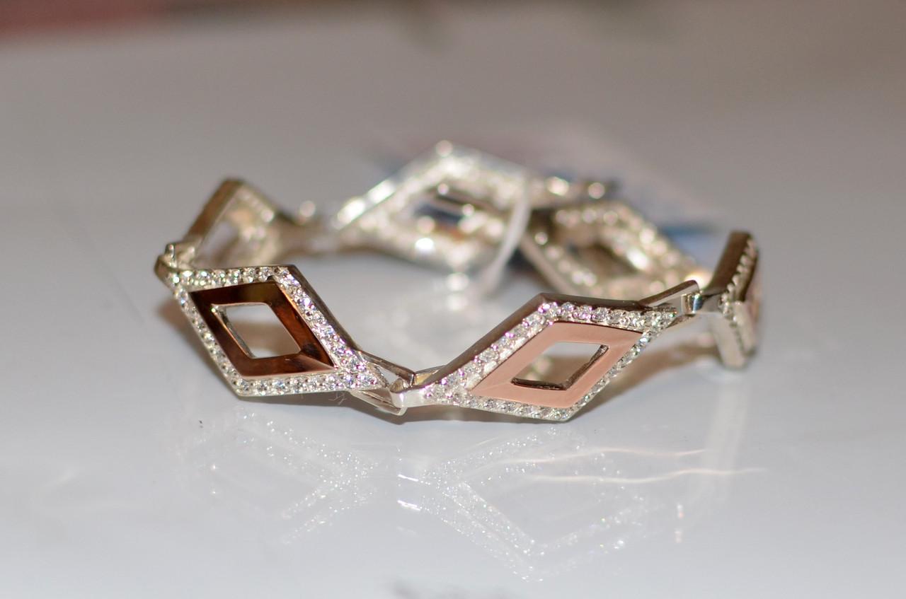 Серебряный браслет с золотыми накладками Бр6
