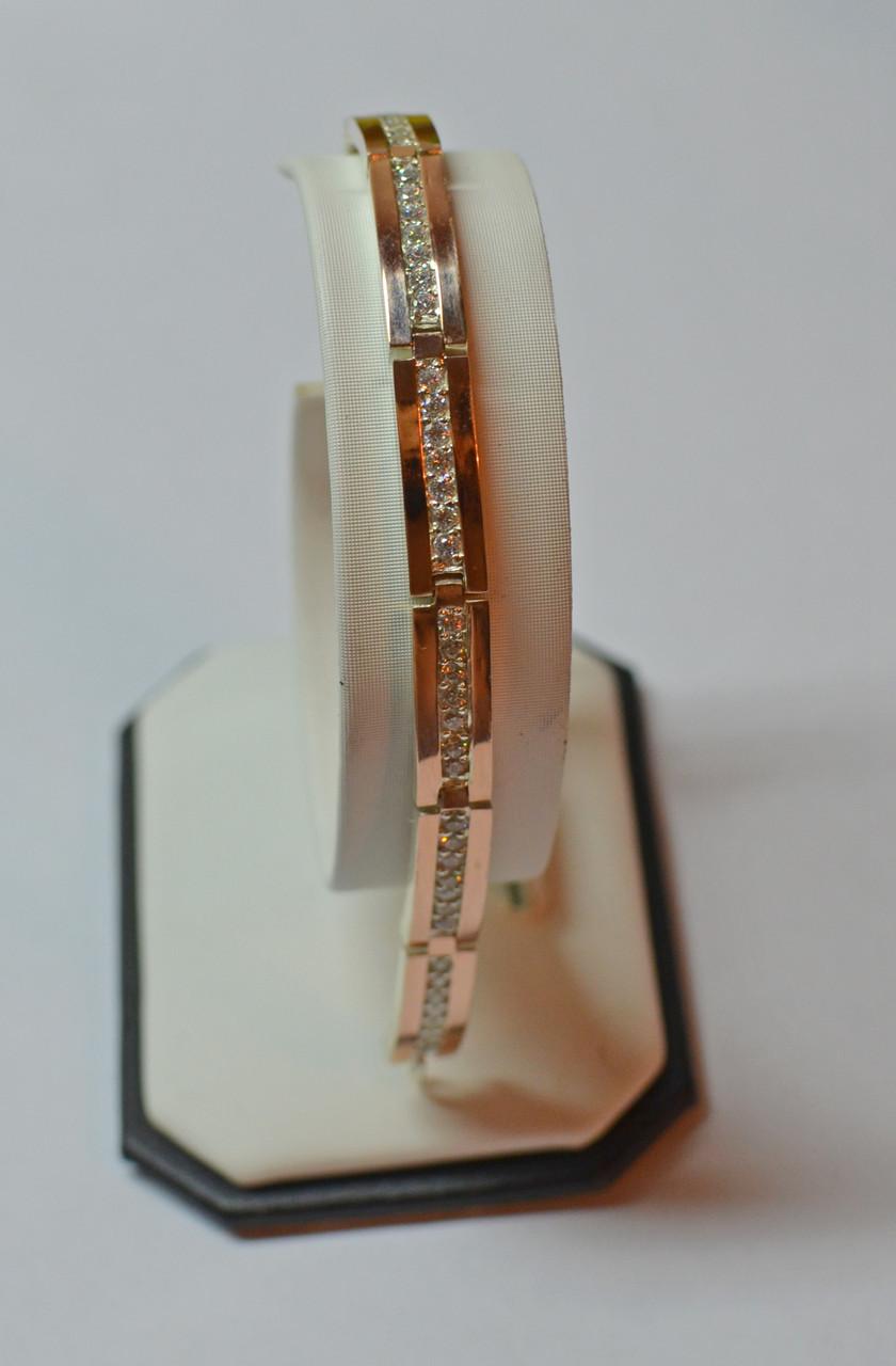 Серебряный браслет с накладками золота Бр1