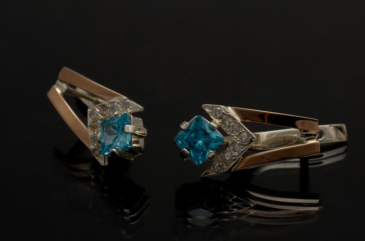 Серебряные серьги с золотыми вставками (027с)
