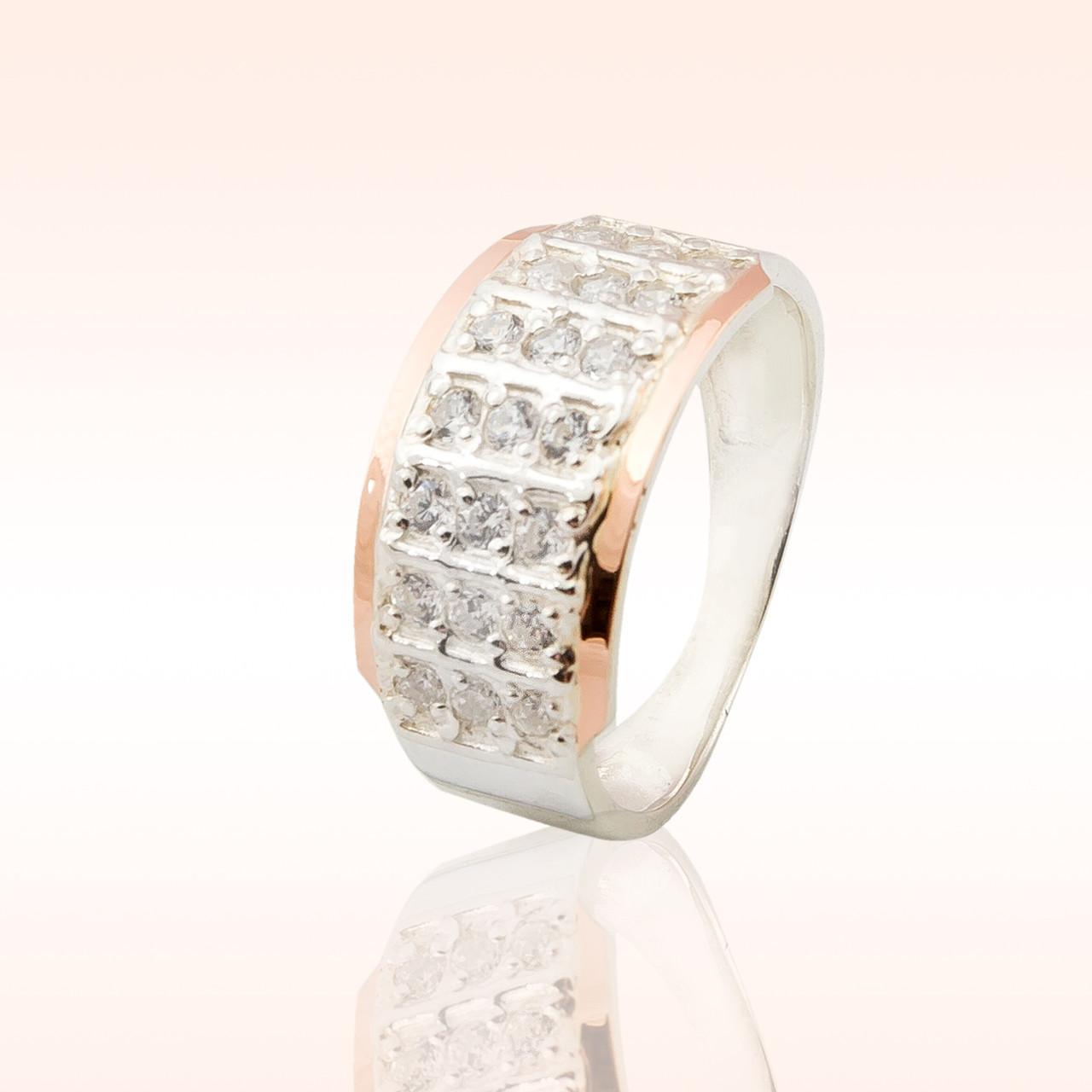 Кольцо серебряное  с накладками золота (001к)