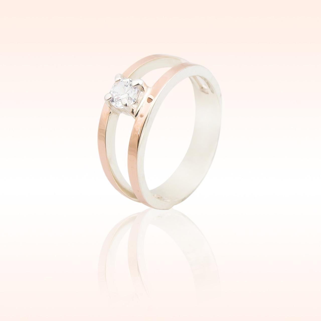 Серебряное кольцо с накладками золота (004к)