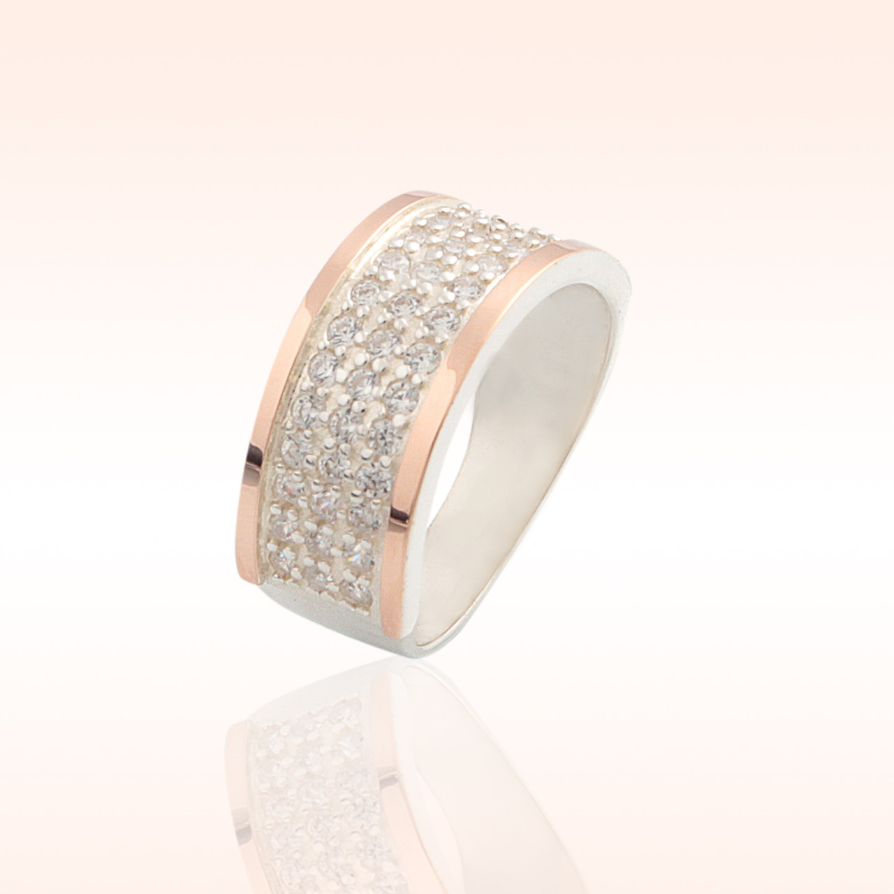 Кольцо из серебра с золотыми накладками (014к)