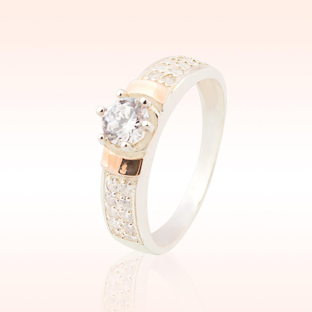 Серебряное кольцо с накладками золота (035к)