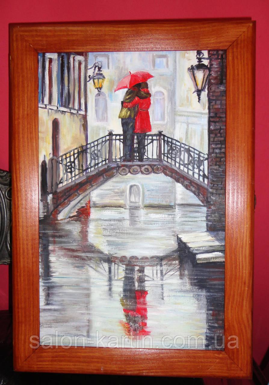 """Деревянная ключница-картина """"Влюбленные на мосту"""""""