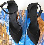 Mante! Красивые женские замшевые черные босоножки туфли каблук 10 см весна лето осень, фото 2