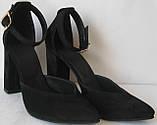 Mante! Красивые женские замшевые черные босоножки туфли каблук 10 см весна лето осень, фото 4