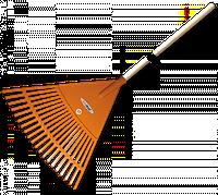 Граблі віялові - 20 зубців, дерев'яний держак, KT-CX20H