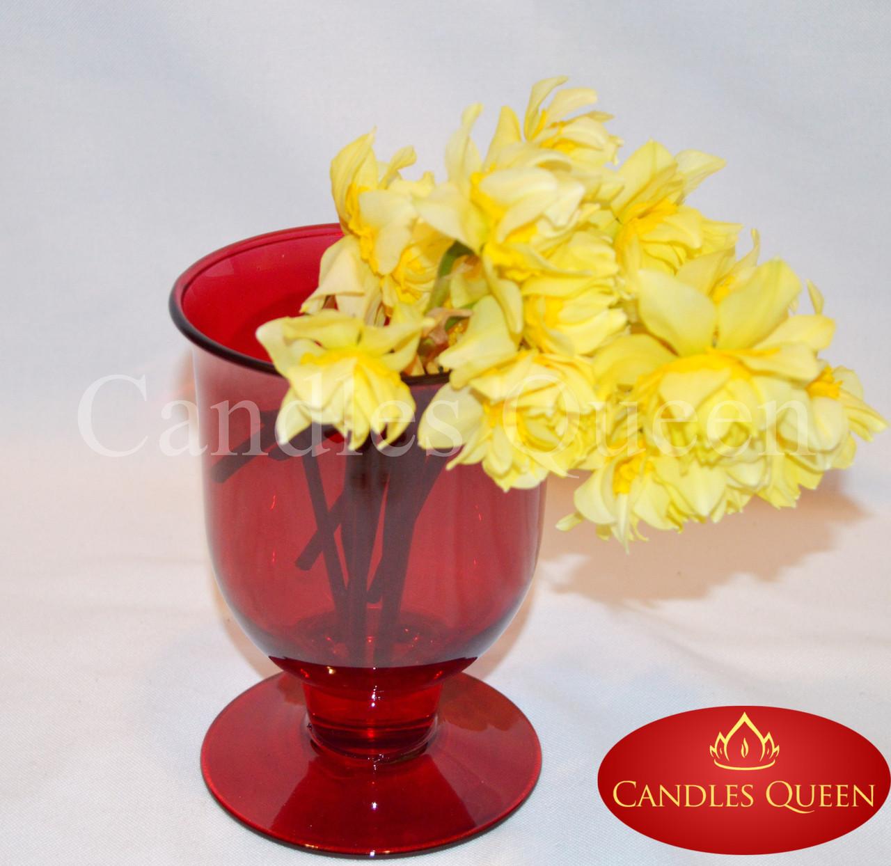 Ваза цветная стеклянная ваза кубок (бокал) 165х110 мм цвет красный (рубин)