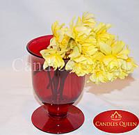 Ваза цветная стеклянная ваза кубок (бокал) 165х110 мм цвет красный (рубин), фото 1