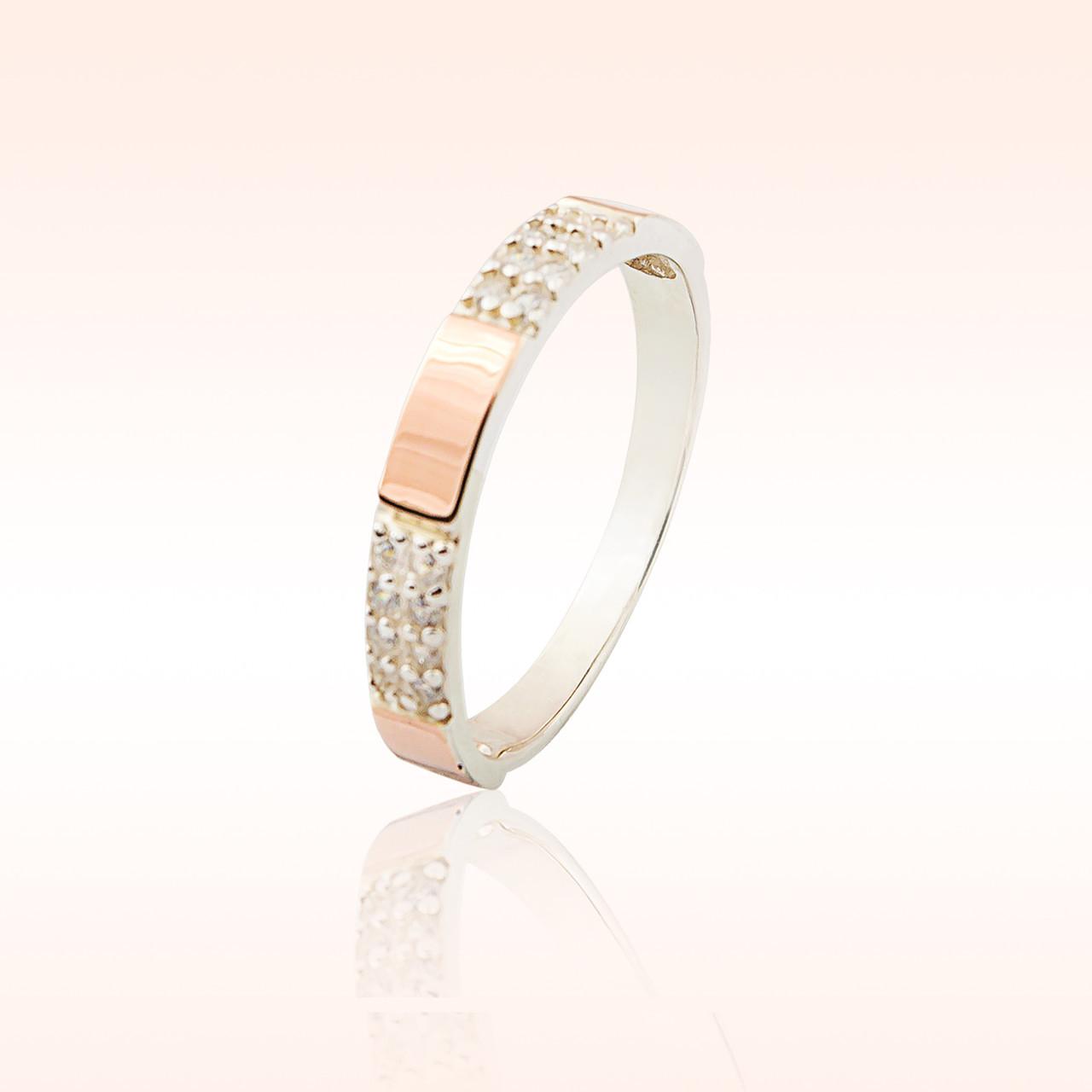 Кольцо серебряное с накладками золота (041к)