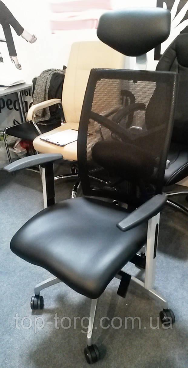Кресло офисное EXACT BLACK LEATHER, BLACK MESH черное, компьютерное