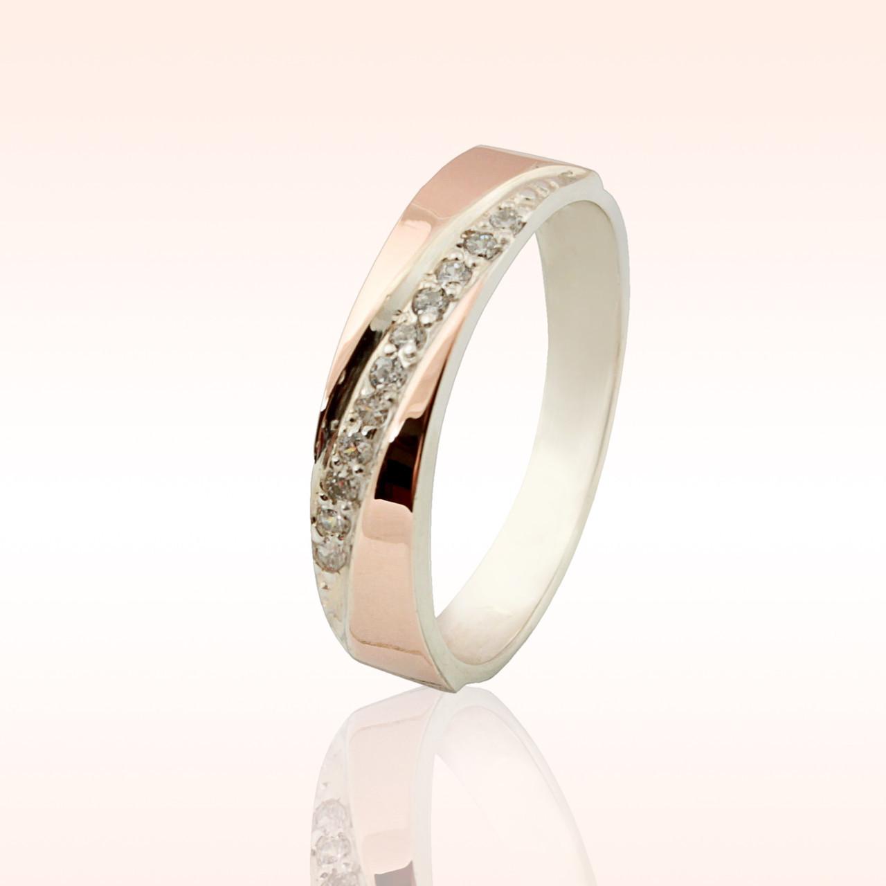 Кольцо серебряное с золотыми вставками (052к)