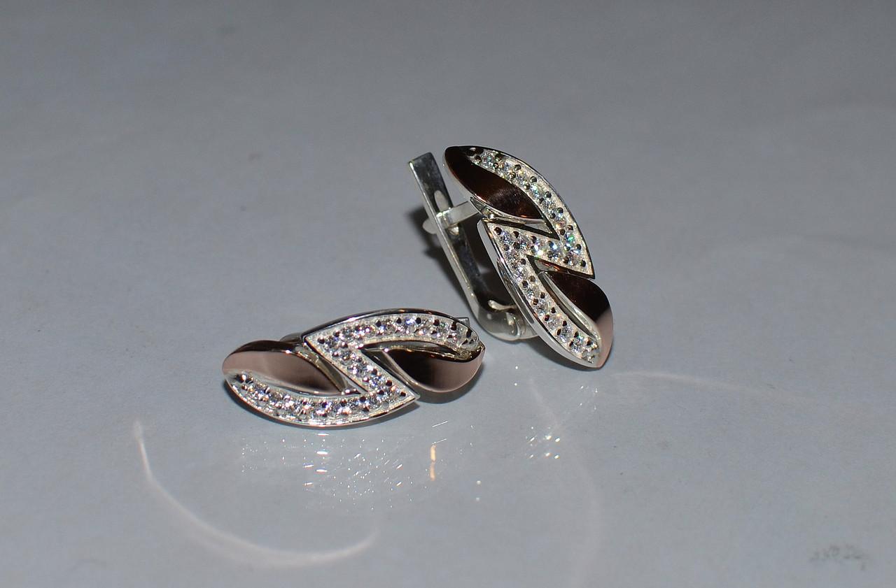 Серьги серебряные с золотыми накладками (073с)