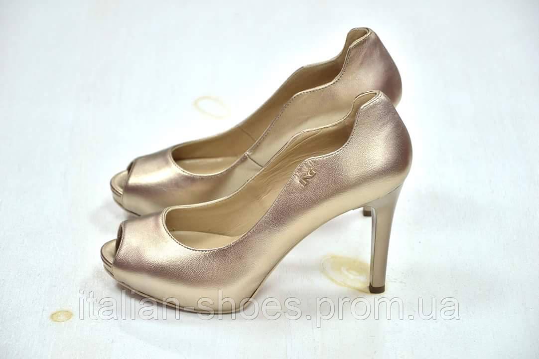 Nero Giardini туфли с открытым носком бронза к. 521