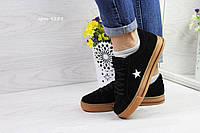 Женские кеды Converse All Star, (7 цветов), Черные, Замша, Резина