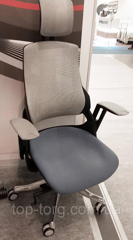 Крісло комп'ютерне WAU SLATEGREY FABRIC, SNOWY NETWORK, сірий