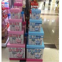 """Коробки подарочные бумажные """"Родился малыш"""" 4шт/наб 25*25*25см C25278-1"""