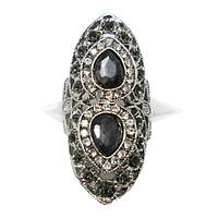 Кольцо Коктейльное под Серебро с Черными Стразами, Размеры 17, 18, 19