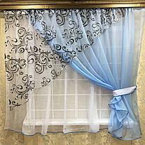 """Кухонные шторы """"Луиза"""" Голубая, фото 2"""