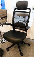 Кресло офисное FULKRUM BLACK LEATHER, кожаное, черное