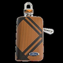 Ключница Carss с логотипом FORD 03014 карбон коричневый