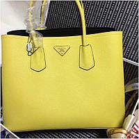 Сумка Прада модель Double 35 см натуральная кожа цвет желтый, фото 1