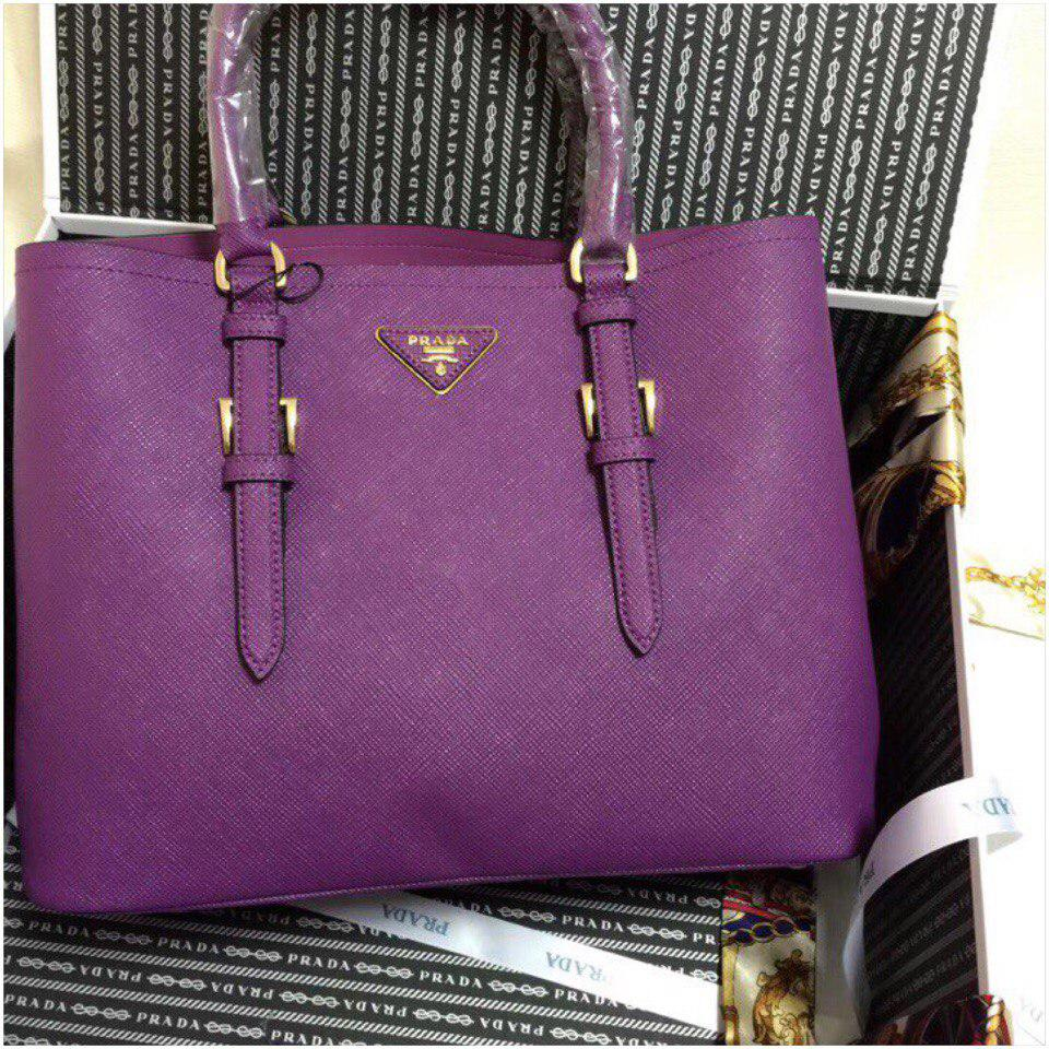 acb931a0cf18 Сумка Прада модель Double 35 см натуральная кожа цвет фиолетовый ...